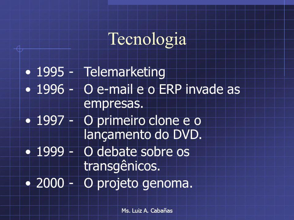 Ms. Luiz A. Cabañas Tecnologia 1987 - Os telefones KS 1988 -As redes internas e o primeiro computador de bordo em automóvel. 1990 - O mundo encolheu,