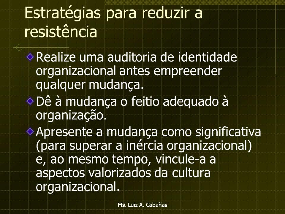 Ms. Luiz A. Cabañas Fontes de Resistência Organizacional à Mudança Resistência organizaciona l Ameaça às distribuições estabelecidas de recursos Inérc