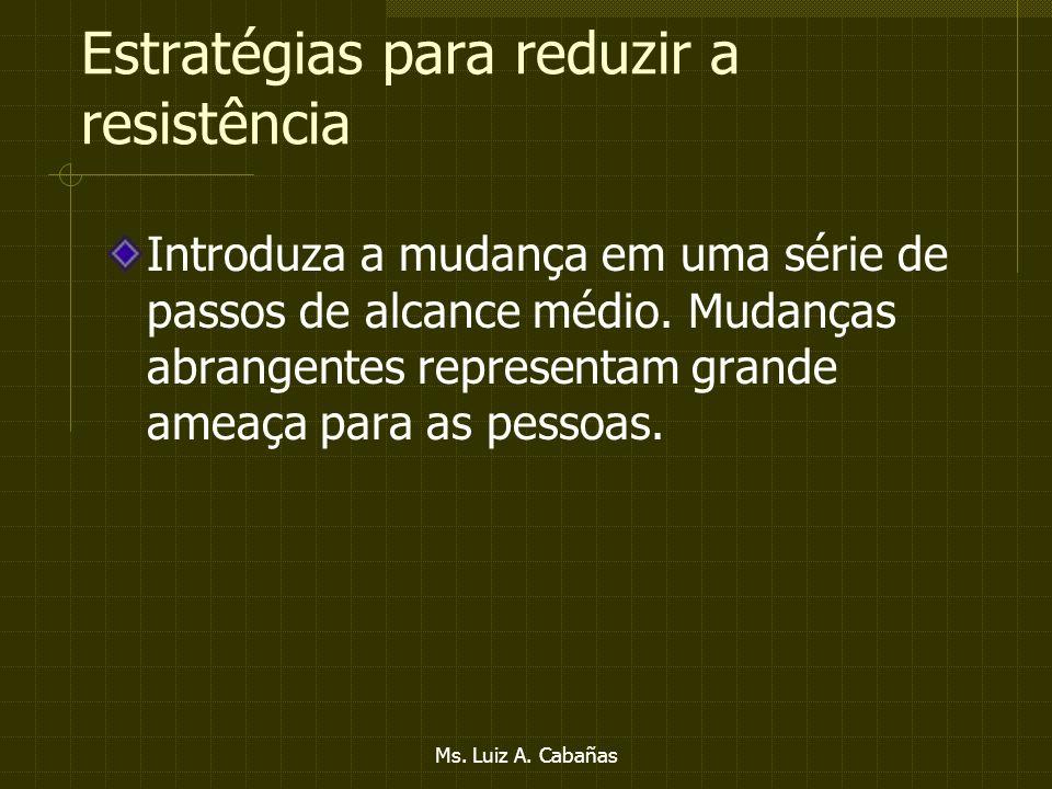 Ms. Luiz A. Cabañas Estratégias para reduzir a resistência Realize uma auditoria de identidade organizacional antes empreender qualquer mudança. Dê à