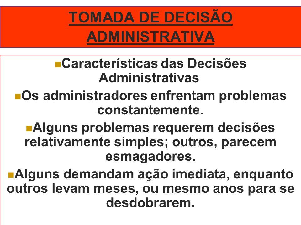 TOMADA DE DECISÃO ADMINISTRATIVA Características das Decisões Administrativas Os administradores enfrentam problemas constantemente. Alguns problemas