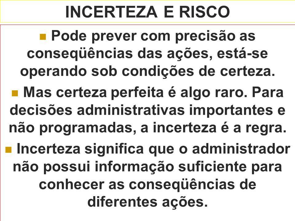 INCERTEZA E RISCO Pode prever com precisão as conseqüências das ações, está-se operando sob condições de certeza. Mas certeza perfeita é algo raro. Pa
