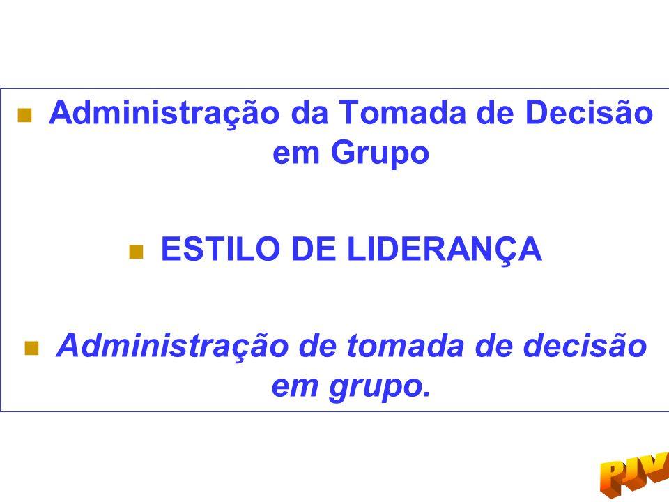 Administração da Tomada de Decisão em Grupo ESTILO DE LIDERANÇA Administração de tomada de decisão em grupo.