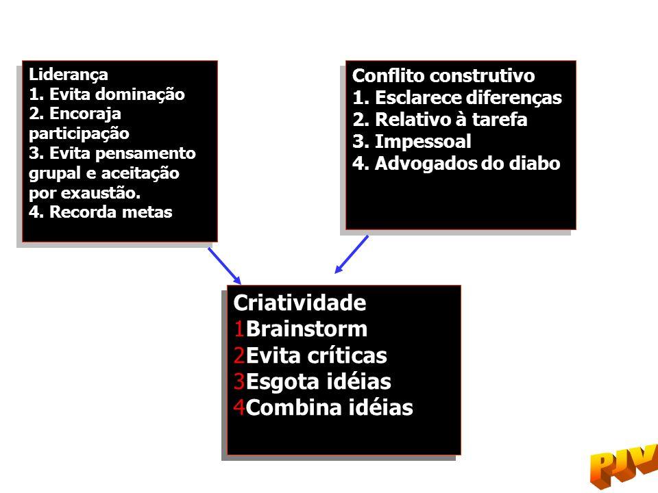 Liderança 1. Evita dominação 2. Encoraja participação 3. Evita pensamento grupal e aceitação por exaustão. 4. Recorda metas Liderança 1. Evita dominaç