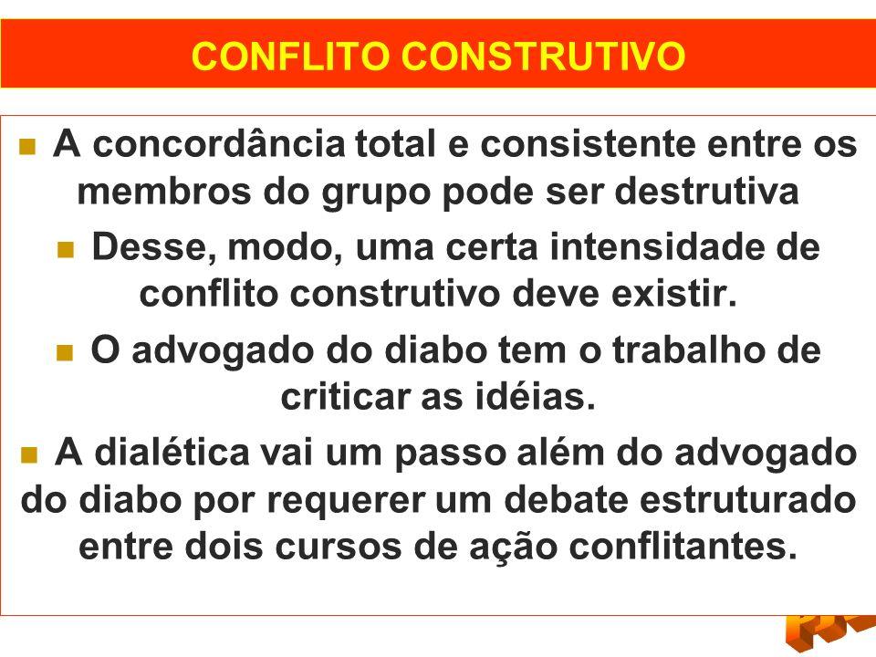 CONFLITO CONSTRUTIVO A concordância total e consistente entre os membros do grupo pode ser destrutiva Desse, modo, uma certa intensidade de conflito c