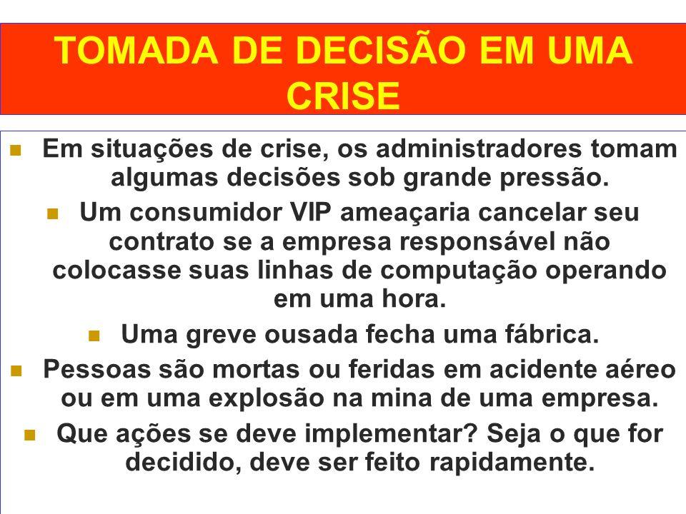 TOMADA DE DECISÃO EM UMA CRISE Em situações de crise, os administradores tomam algumas decisões sob grande pressão. Um consumidor VIP ameaçaria cancel