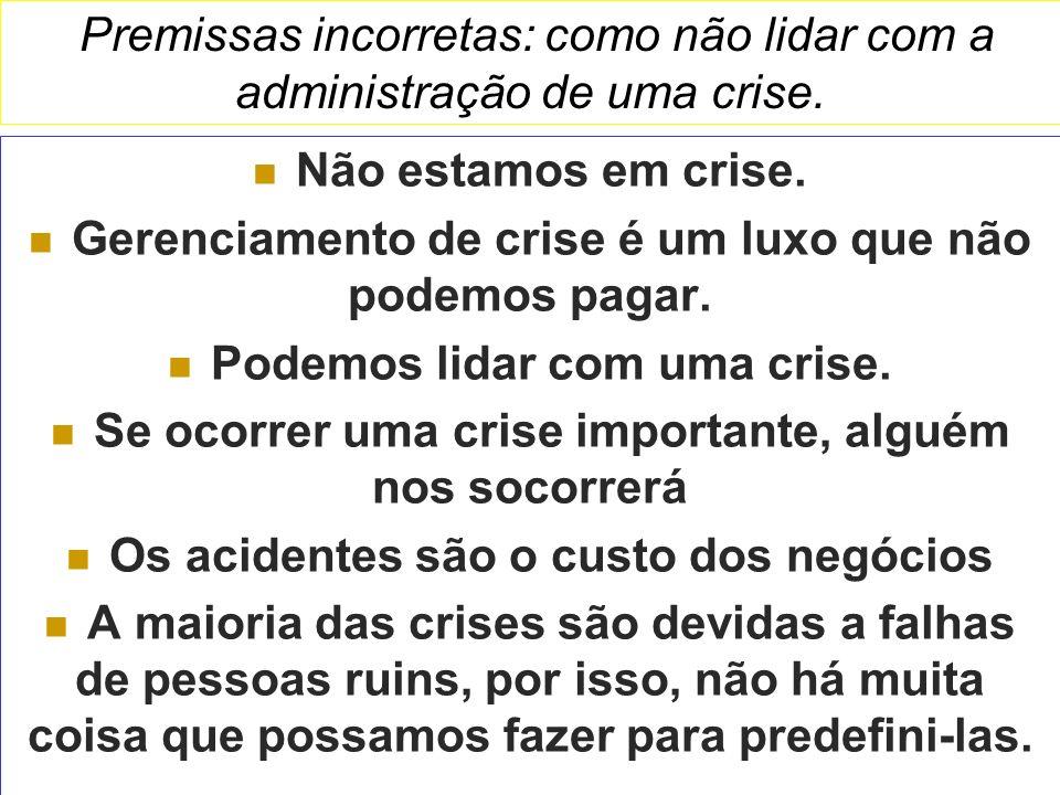 Premissas incorretas: como não lidar com a administração de uma crise. Não estamos em crise. Gerenciamento de crise é um luxo que não podemos pagar. P