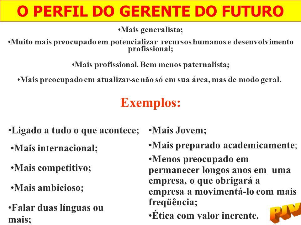 O PERFIL DO GERENTE DO FUTURO Mais generalista; Muito mais preocupado em potencializar recursos humanos e desenvolvimento profissional; Mais profissio