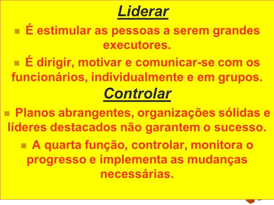 Liderar É estimular as pessoas a serem grandes executores. É dirigir, motivar e comunicar-se com os funcionários, individualmente e em grupos. Control