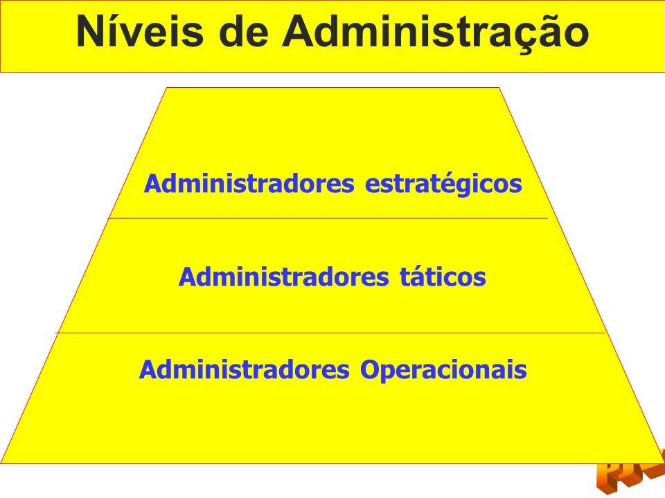 Níveis de Administração Administradores estratégicos Administradores táticos Administradores Operacionais