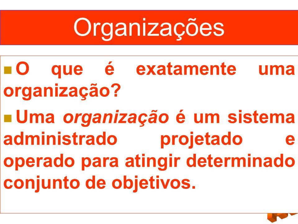 Organizações O que é exatamente uma organização? Uma organização é um sistema administrado projetado e operado para atingir determinado conjunto de ob
