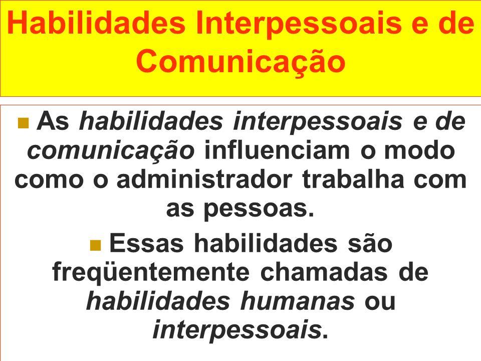 Habilidades Interpessoais e de Comunicação As habilidades interpessoais e de comunicação influenciam o modo como o administrador trabalha com as pesso