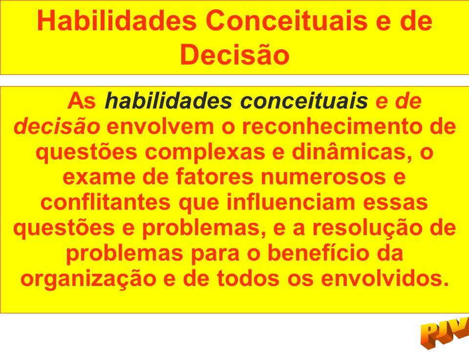 Habilidades Conceituais e de Decisão As habilidades conceituais e de decisão envolvem o reconhecimento de questões complexas e dinâmicas, o exame de f