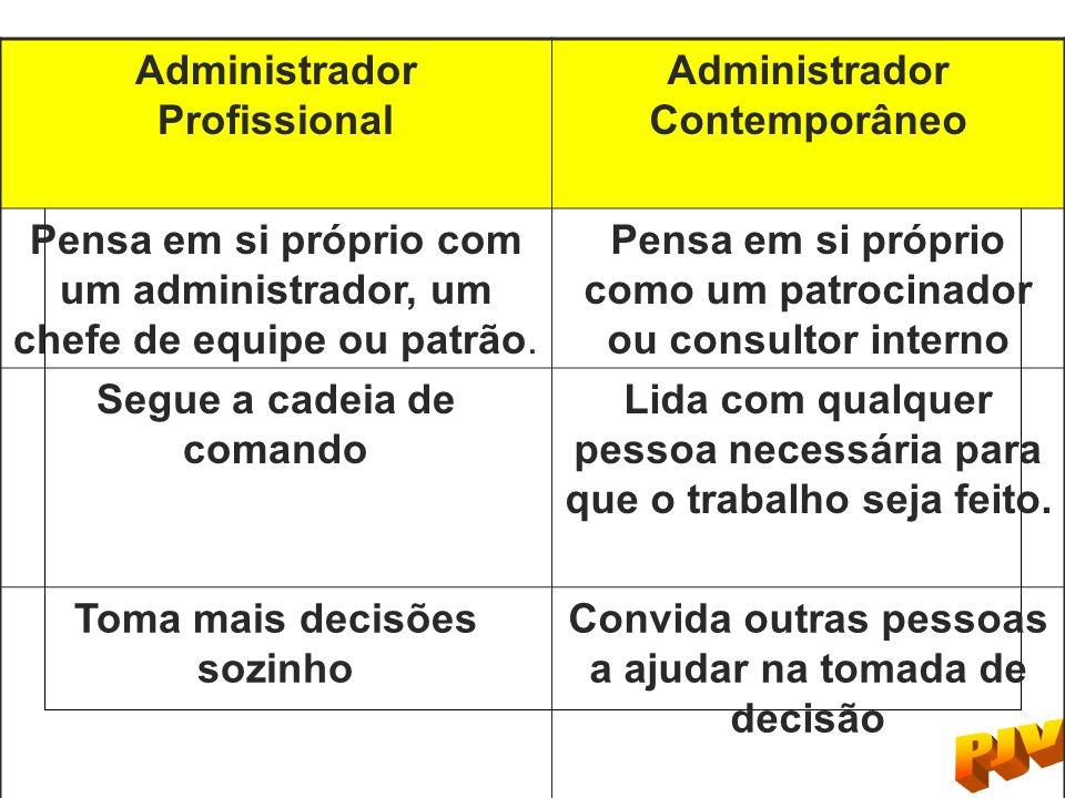 Administrador Profissional Administrador Contemporâneo Pensa em si próprio com um administrador, um chefe de equipe ou patrão. Pensa em si próprio com