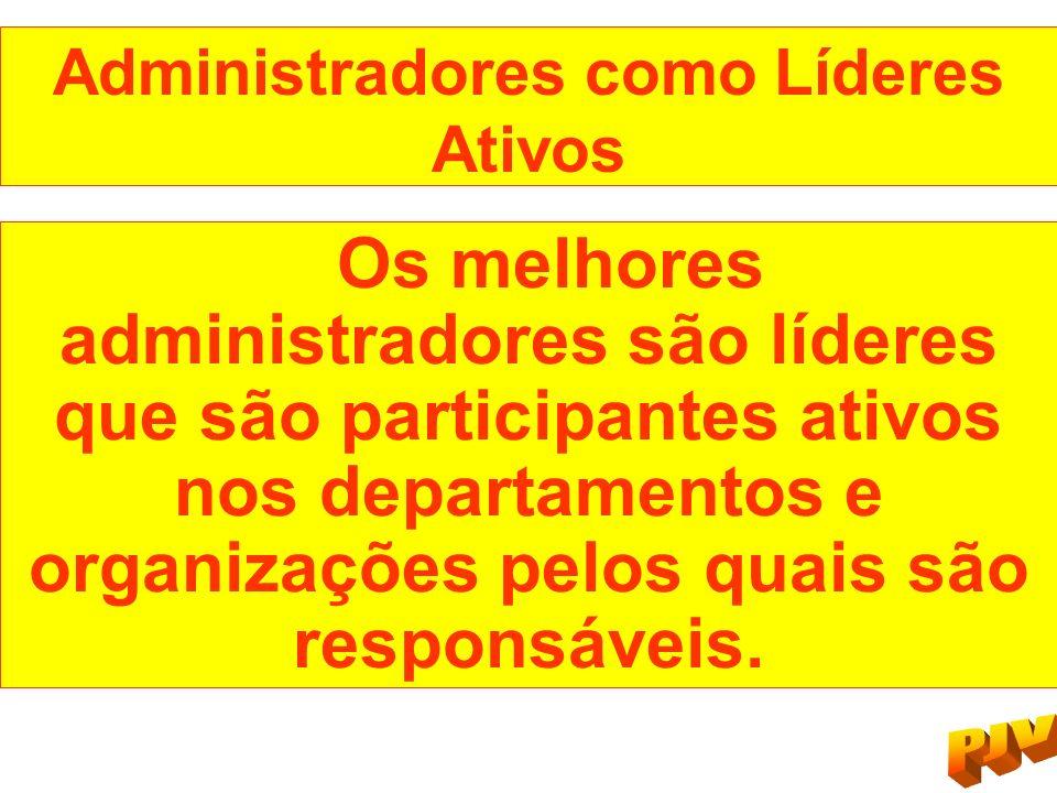 Administradores como Líderes Ativos Os melhores administradores são líderes que são participantes ativos nos departamentos e organizações pelos quais