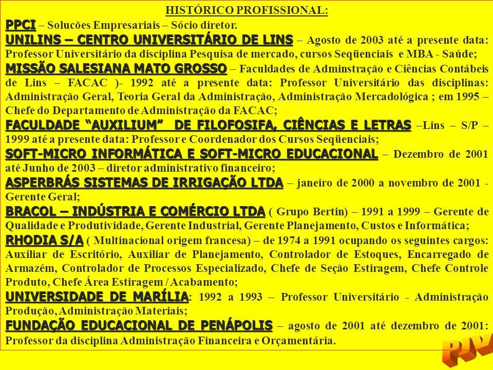 HISTÓRICO PROFISSIONAL: PPCI PPCI – Solucões Empresariais – Sócio diretor. UNILINS – CENTRO UNIVERSITÁRIO DE LINS UNILINS – CENTRO UNIVERSITÁRIO DE LI