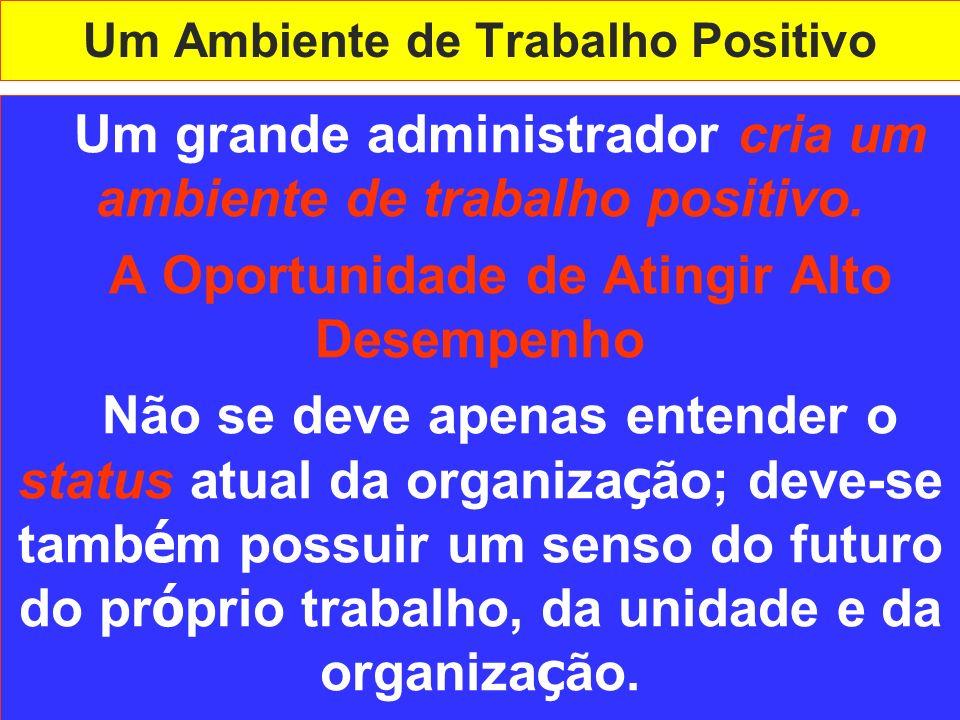 Um Ambiente de Trabalho Positivo Um grande administrador cria um ambiente de trabalho positivo. A Oportunidade de Atingir Alto Desempenho Não se deve