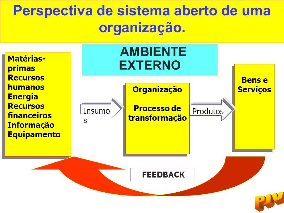 Perspectiva de sistema aberto de uma organização. AMBIENTE EXTERNO Matérias- primas Recursos humanos Energia Recursos financeiros Informação Equipamen