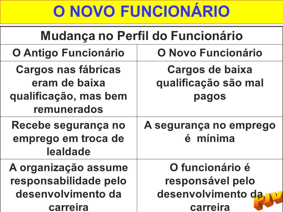 O NOVO FUNCIONÁRIO Mudança no Perfil do Funcionário O Antigo FuncionárioO Novo Funcionário Cargos nas fábricas eram de baixa qualificação, mas bem rem
