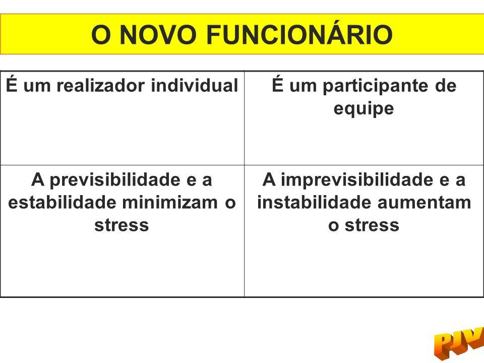 É um realizador individualÉ um participante de equipe A previsibilidade e a estabilidade minimizam o stress A imprevisibilidade e a instabilidade aume
