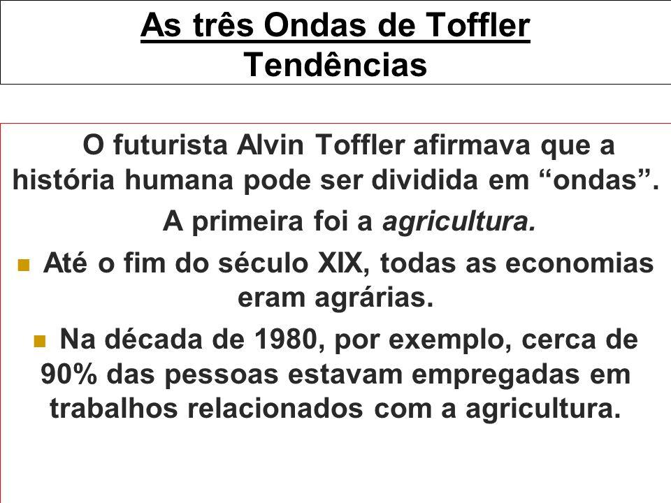 As três Ondas de Toffler Tendências O futurista Alvin Toffler afirmava que a história humana pode ser dividida em ondas. A primeira foi a agricultura.