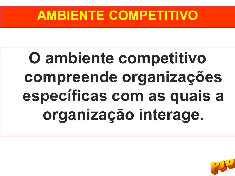 AMBIENTE COMPETITIVO O ambiente competitivo compreende organizações específicas com as quais a organização interage.