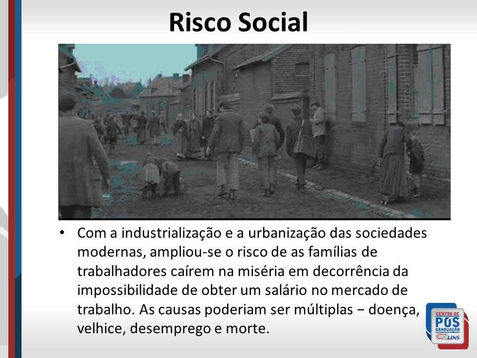 Risco Social Com a industrialização e a urbanização das sociedades modernas, ampliou-se o risco de as famílias de trabalhadores caírem na miséria em d