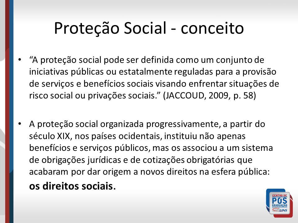 Proteção Social - conceito A proteção social pode ser definida como um conjunto de iniciativas públicas ou estatalmente reguladas para a provisão de s