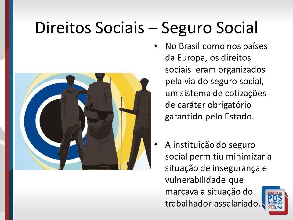 Direitos Sociais – Seguro Social No Brasil como nos países da Europa, os direitos sociais eram organizados pela via do seguro social, um sistema de co