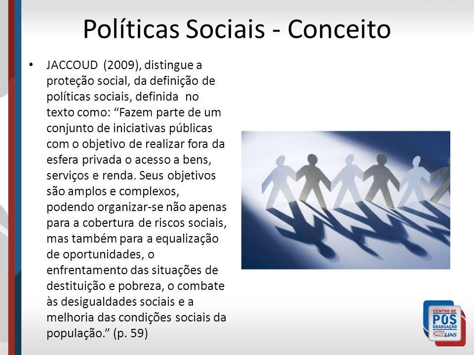 Políticas Sociais - Conceito JACCOUD (2009), distingue a proteção social, da definição de políticas sociais, definida no texto como: Fazem parte de um