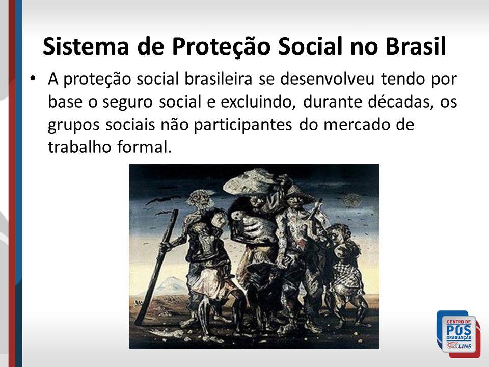 Sistema de Proteção Social no Brasil A proteção social brasileira se desenvolveu tendo por base o seguro social e excluindo, durante décadas, os grupo