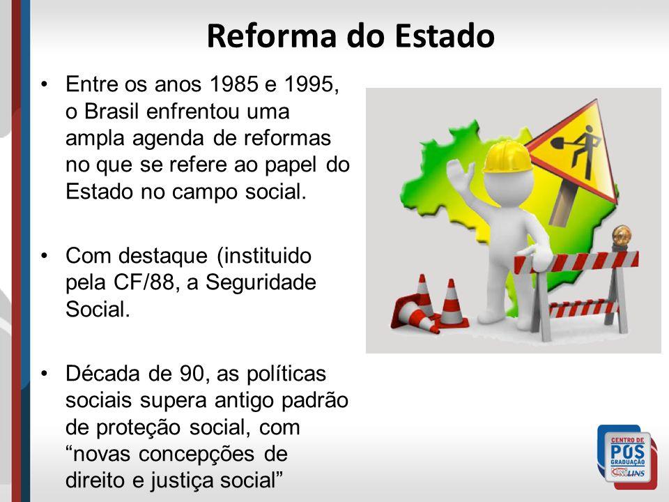 Reforma do Estado Entre os anos 1985 e 1995, o Brasil enfrentou uma ampla agenda de reformas no que se refere ao papel do Estado no campo social. Com