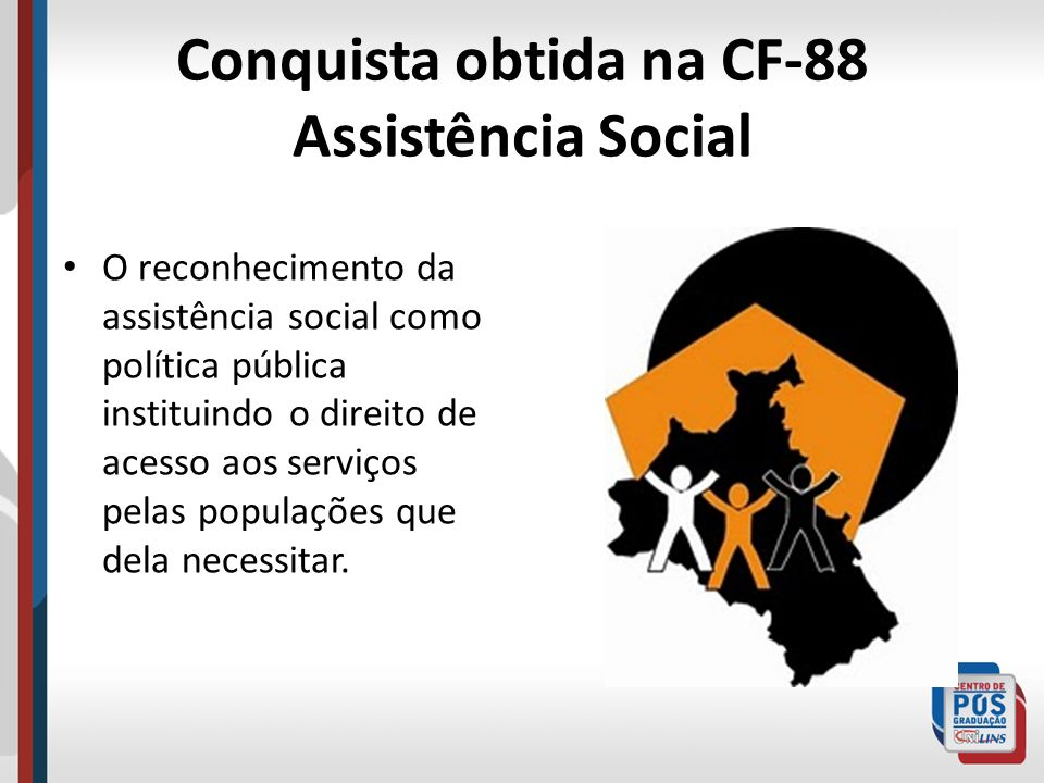 Conquista obtida na CF-88 Assistência Social O reconhecimento da assistência social como política pública instituindo o direito de acesso aos serviços