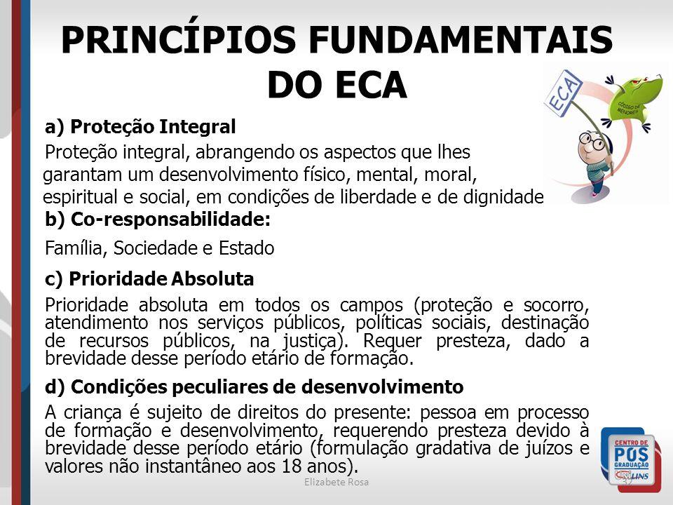 Elizabete Rosa32 PRINCÍPIOS FUNDAMENTAIS DO ECA a) Proteção Integral Proteção integral, abrangendo os aspectos que lhes garantam um desenvolvimento fí