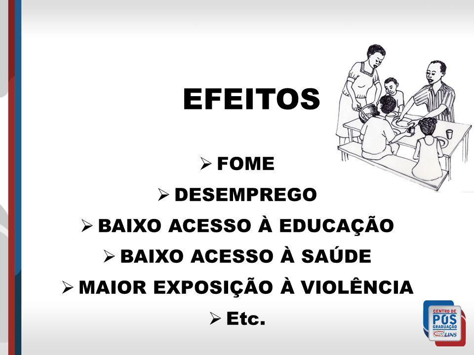 EFEITOS FOME DESEMPREGO BAIXO ACESSO À EDUCAÇÃO BAIXO ACESSO À SAÚDE MAIOR EXPOSIÇÃO À VIOLÊNCIA Etc.