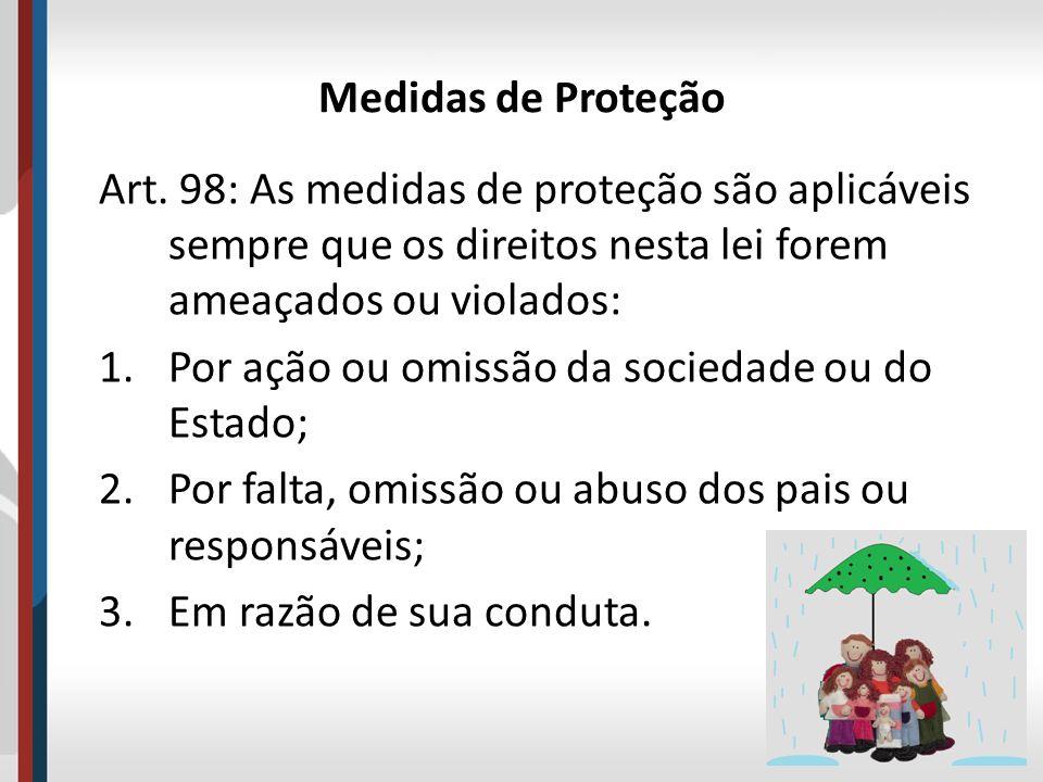 Medidas de Proteção Art. 98: As medidas de proteção são aplicáveis sempre que os direitos nesta lei forem ameaçados ou violados: 1.Por ação ou omissão