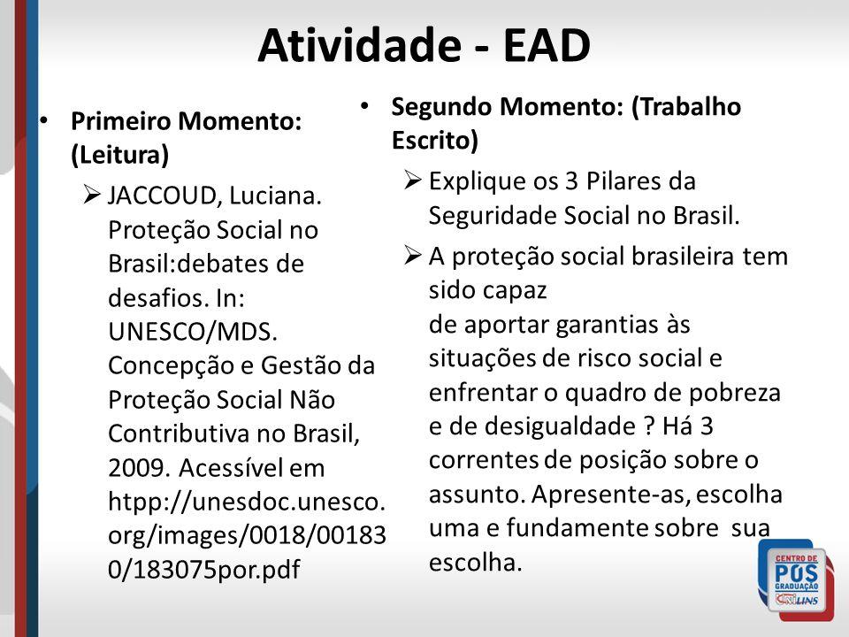Atividade - EAD Primeiro Momento: (Leitura) JACCOUD, Luciana. Proteção Social no Brasil:debates de desafios. In: UNESCO/MDS. Concepção e Gestão da Pro
