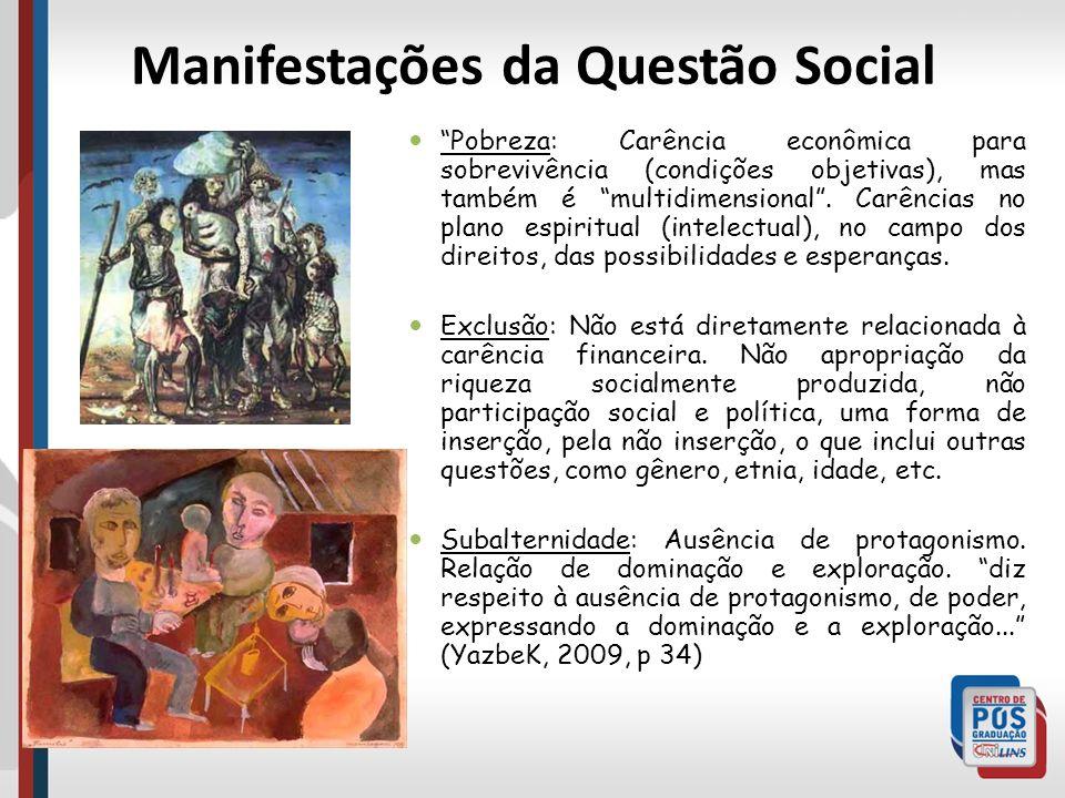 Manifestações da Questão Social Pobreza: Carência econômica para sobrevivência (condições objetivas), mas também é multidimensional. Carências no plan