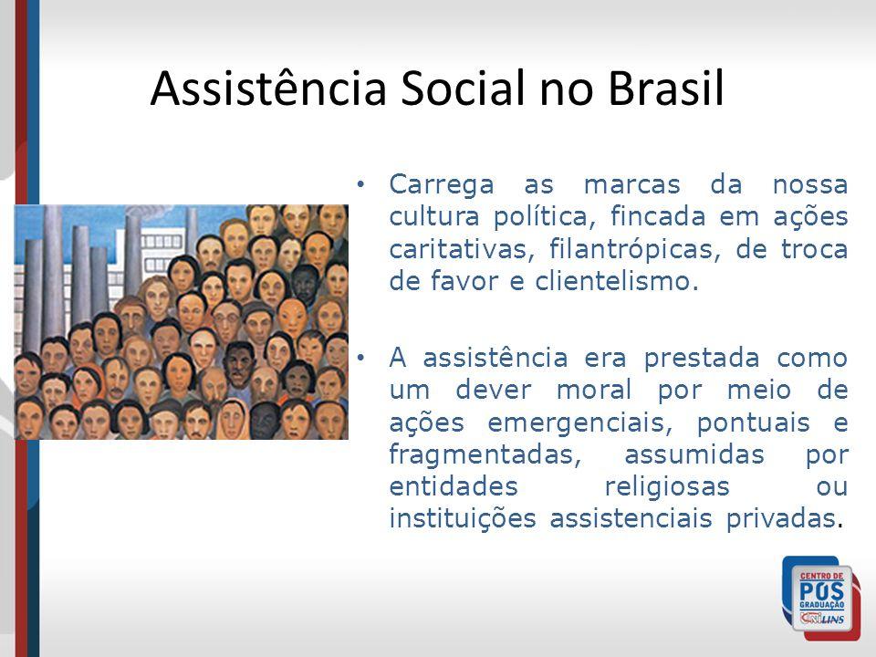 Assistência Social no Brasil Carrega as marcas da nossa cultura política, fincada em ações caritativas, filantrópicas, de troca de favor e clientelism