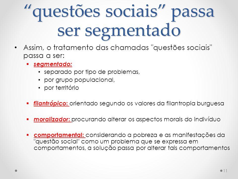 questões sociais passa ser segmentado Assim, o tratamento das chamadas