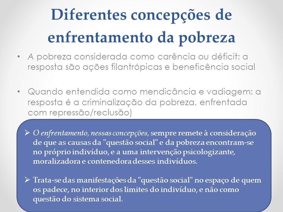 Diferentes concepções de enfrentamento da pobreza A pobreza considerada como carência ou déficit: a resposta são ações filantrópicas e beneficência so