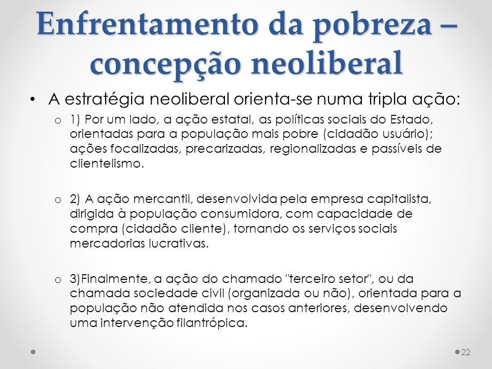 Enfrentamento da pobreza – concepção neoliberal A estratégia neoliberal orienta-se numa tripla ação: o 1) Por um lado, a ação estatal, as políticas so