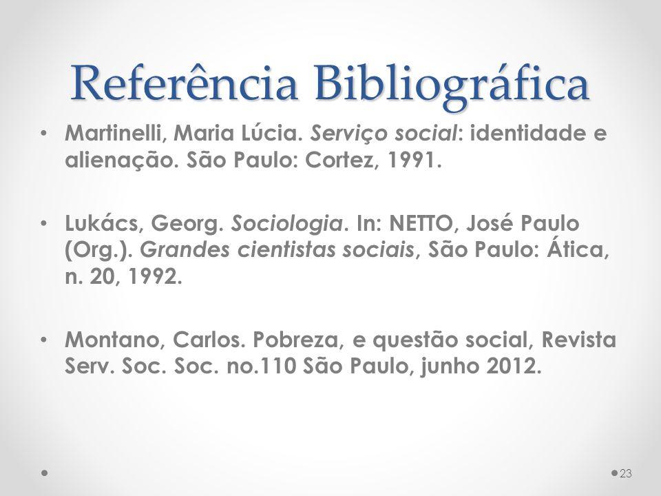 Referência Bibliográfica Martinelli, Maria Lúcia. Serviço social : identidade e alienação. São Paulo: Cortez, 1991. Lukács, Georg. Sociologia. In: NET