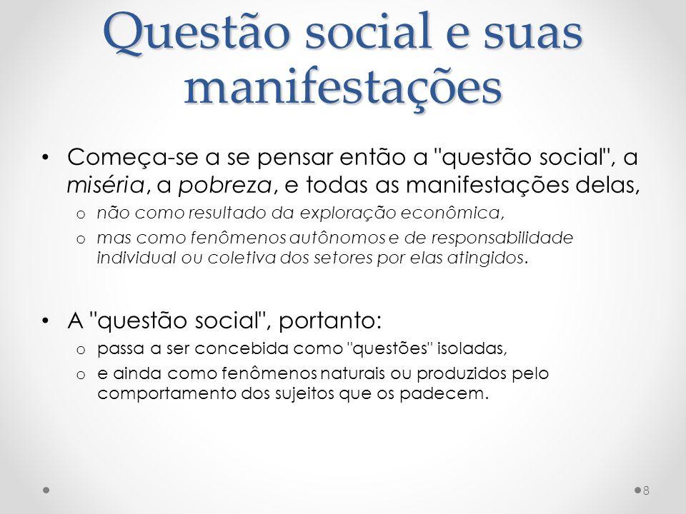 Questão social e suas manifestações Começa-se a se pensar então a