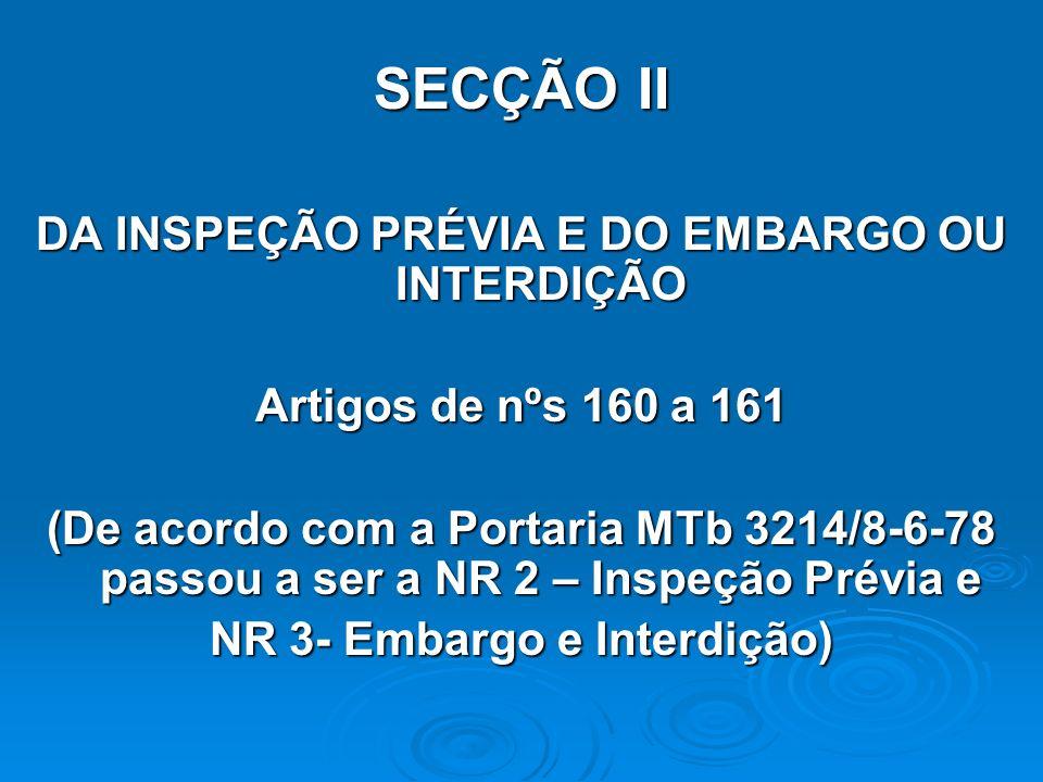 SECÇÃO II DA INSPEÇÃO PRÉVIA E DO EMBARGO OU INTERDIÇÃO Artigos de nºs 160 a 161 (De acordo com a Portaria MTb 3214/8-6-78 passou a ser a NR 2 – Inspe