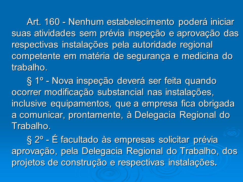 Art. 160 - Nenhum estabelecimento poderá iniciar suas atividades sem prévia inspeção e aprovação das respectivas instalações pela autoridade regional