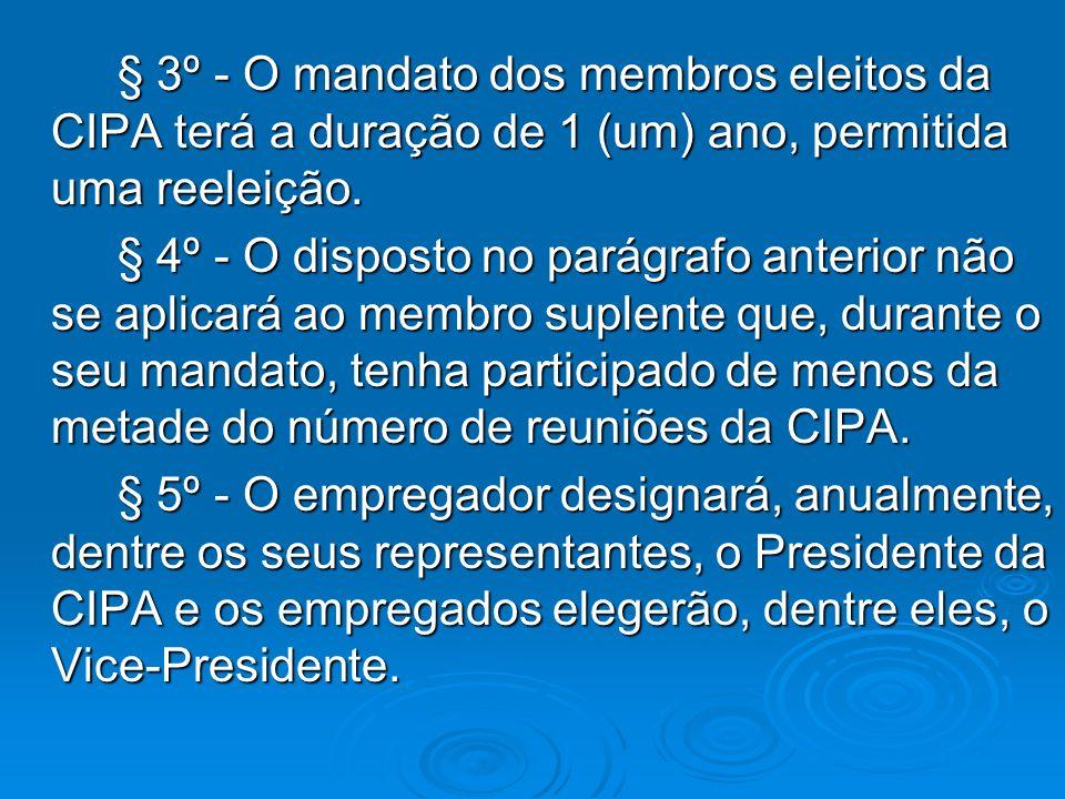 § 3º - O mandato dos membros eleitos da CIPA terá a duração de 1 (um) ano, permitida uma reeleição. § 3º - O mandato dos membros eleitos da CIPA terá