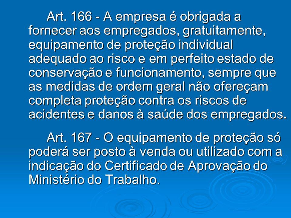 Art. 166 - A empresa é obrigada a fornecer aos empregados, gratuitamente, equipamento de proteção individual adequado ao risco e em perfeito estado de