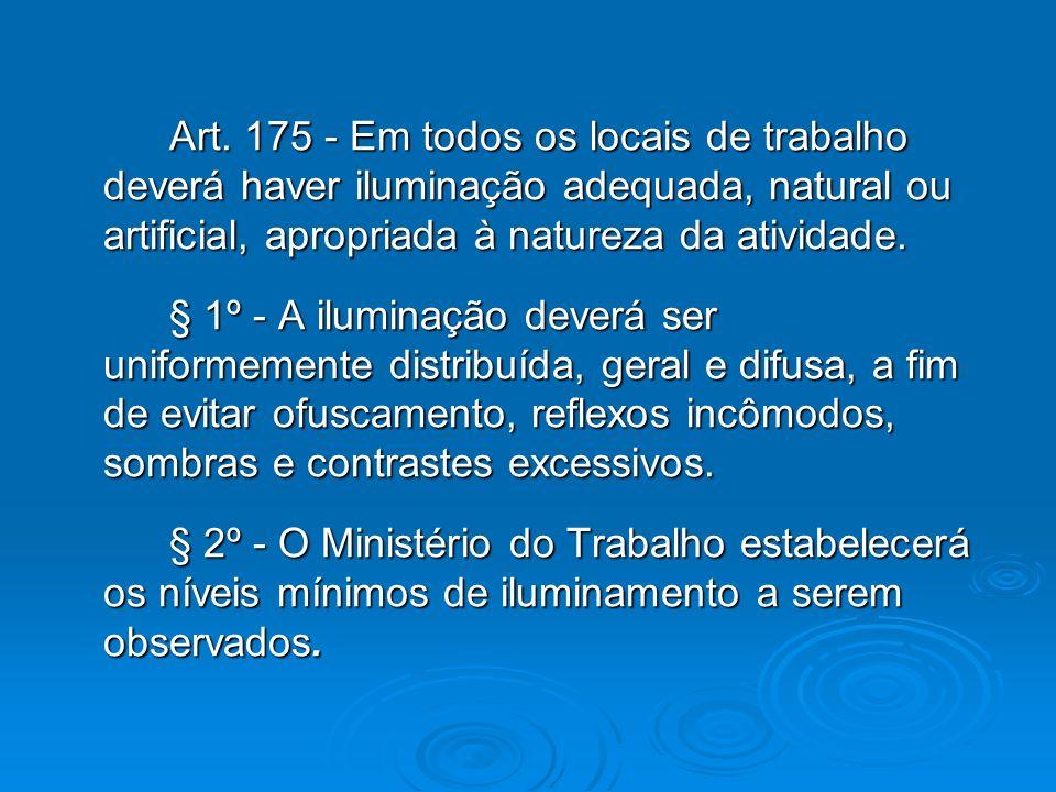 Art. 175 - Em todos os locais de trabalho deverá haver iluminação adequada, natural ou artificial, apropriada à natureza da atividade. Art. 175 - Em t