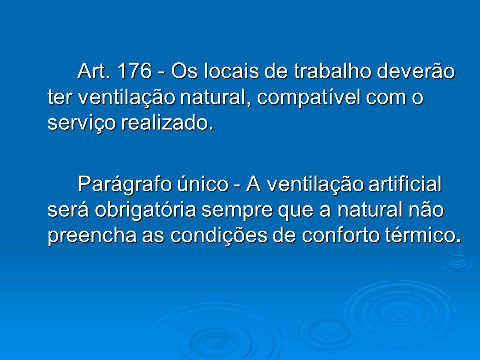 Art. 176 - Os locais de trabalho deverão ter ventilação natural, compatível com o serviço realizado. Art. 176 - Os locais de trabalho deverão ter vent