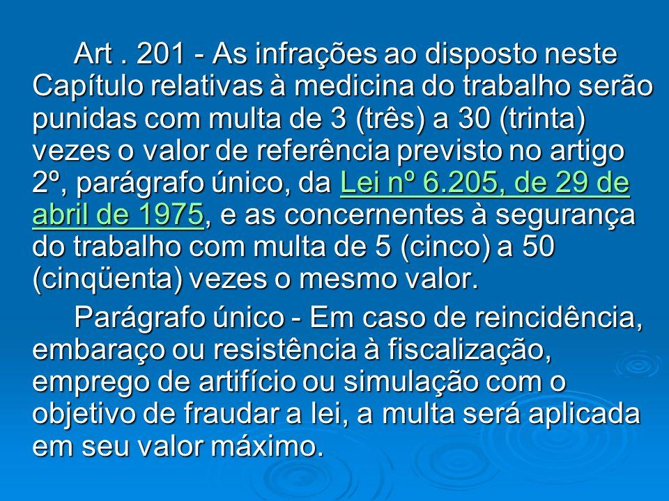 Art. 201 - As infrações ao disposto neste Capítulo relativas à medicina do trabalho serão punidas com multa de 3 (três) a 30 (trinta) vezes o valor de